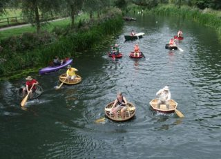 Coracles in the River Stour