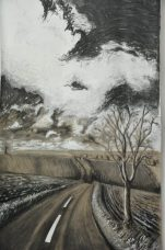 A painting of a rolling road over hill with trees and clouds