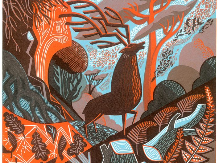 A colourful stylised lino cut of a stag in a forest