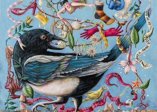 A painting of a magpie surrounded by a myriad of things that it has collected